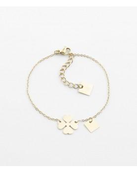 Bracelet Zag Clover acier doré