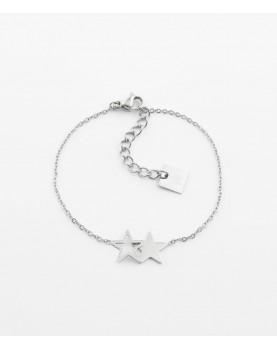 Bracelet Zag Double Star acier