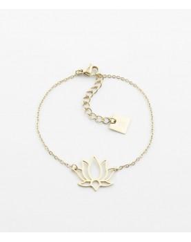 Bracelet Zag Lotus acier doré