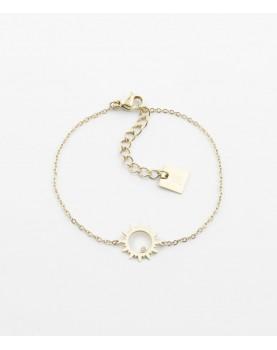 Bracelet Zag Oursin acier doré