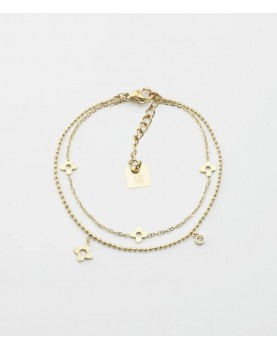 Bracelet Zag Borgia acier doré