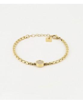 Bracelet Zag Code acier doré
